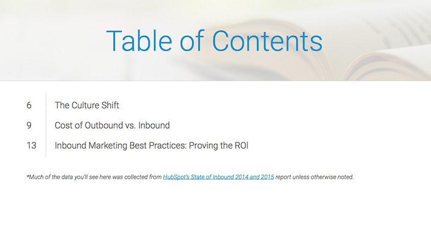 Proving the ROI Table of Contents
