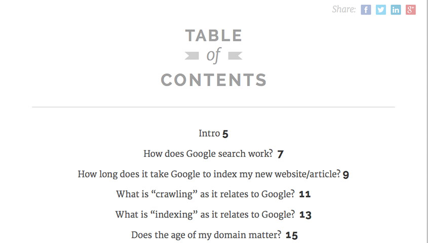 Rank Higher in SEO Table of Contents
