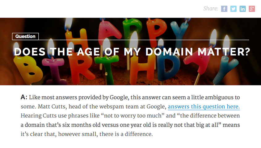 Age of my domain matter